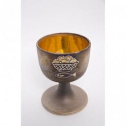 Cáliz cerámica, copa con baño de oro cerámico
