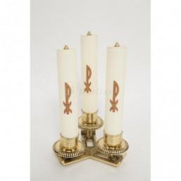Candelabro 3 luces bronce dorado con velas