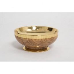 Copón-patena madera de olivo, copa dorada