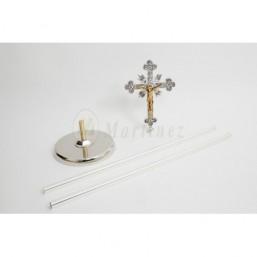 Cruz parroquial con base niquelada