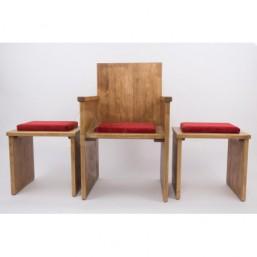 Juego sedes madera de pino, tapizado simil-terciopelo