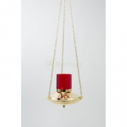 Lámpara de colgar dorada para cera líquida con soporte