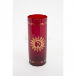 Vaso cristal rojo 8 días decorado