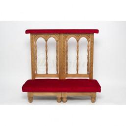 Reclinatorio doble madera de haya torneada, tapizado simil-terciopelo