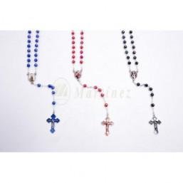 Rosario cristal, cruz esmaltada