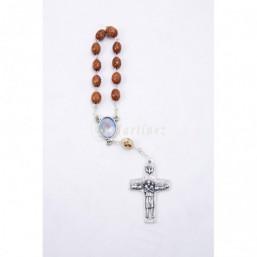 Decena bola madera, cruz Papa Francisco