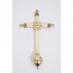 Remate cruz dorado para varas estandarte