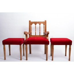 Juego sedes madera de haya torneada, tapizado simil-terciopelo